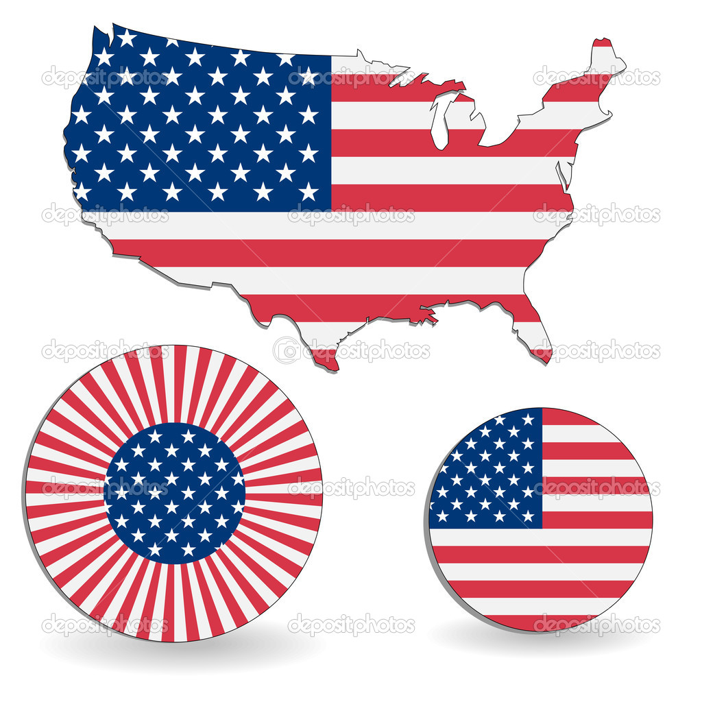 the american flag and map stock vector