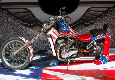 Chopper motorbike on american flag background