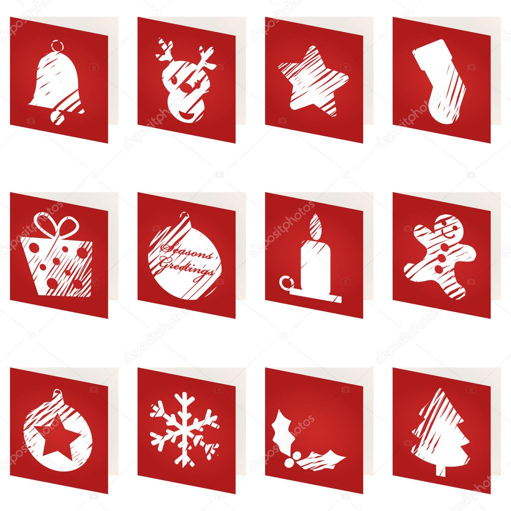 Rote Weihnachtskarten.Rote Weihnachtskarten Stockvektor Mattasbestos 3927605