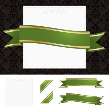 Frame with green and gold ribbon
