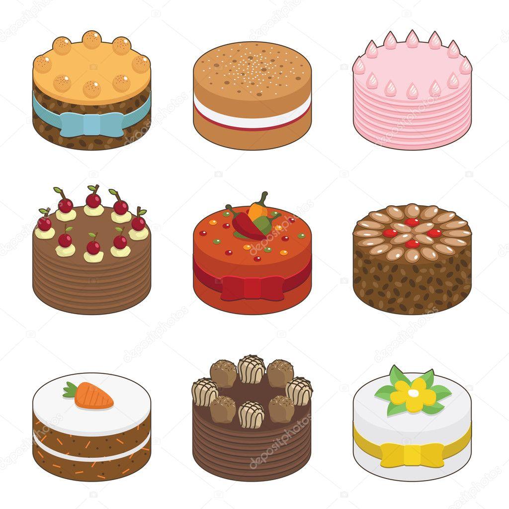 Birthday Cakes Clipart Vector