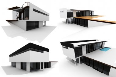 3d modern house, isolated on white