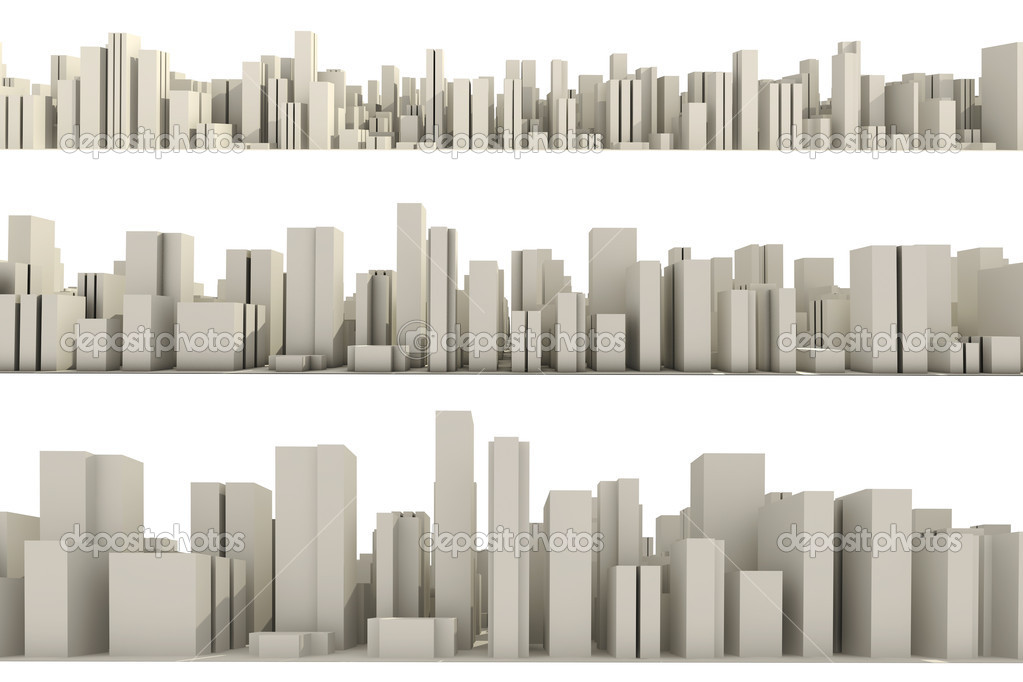 3d skyline of a crowd city, aerial view