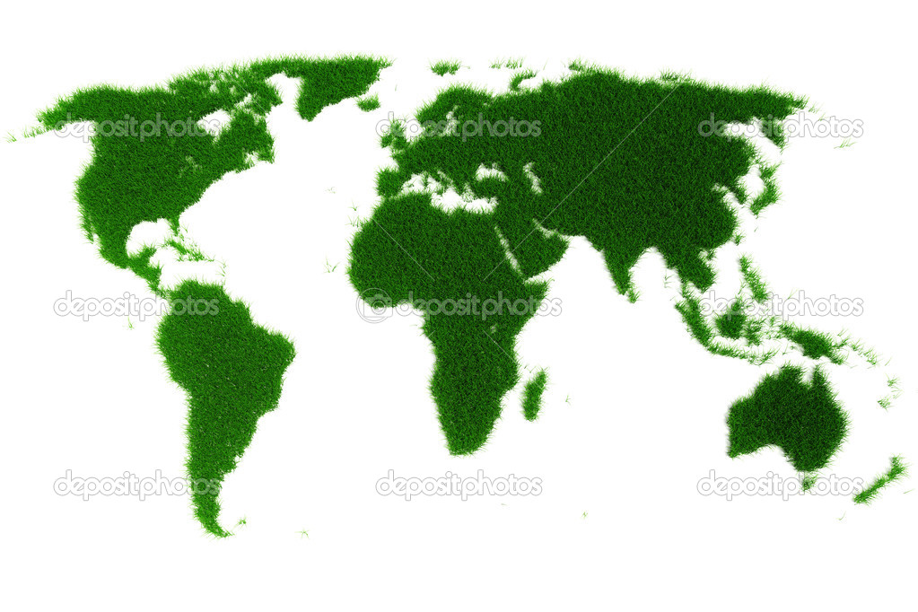 3d world map made of grass