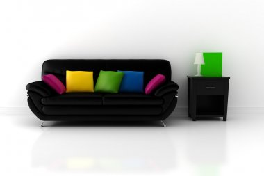3d couch and a room with chite walls and floor