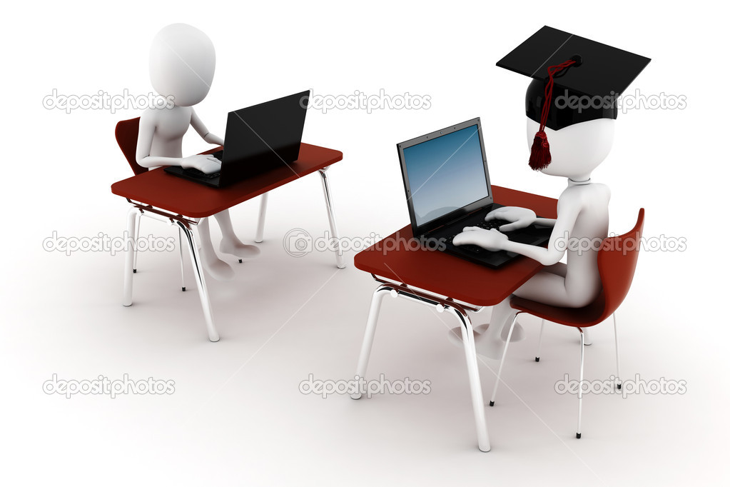 3d man in classroom exam test stock photo digitalgenetics 4640601. Black Bedroom Furniture Sets. Home Design Ideas