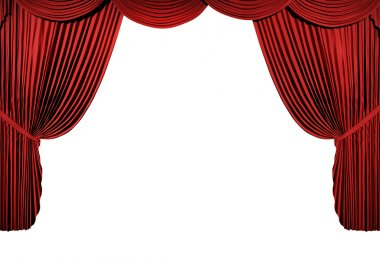 3d stage render, red curtain