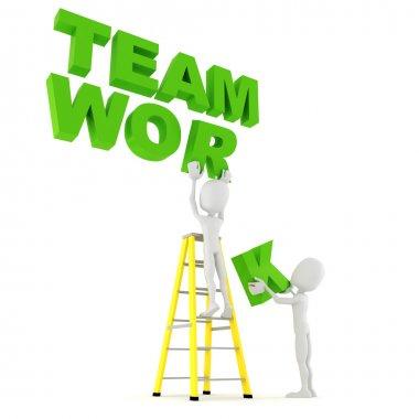 3d man team work