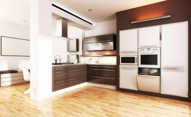 3d modern kitchen - interior render