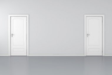 3d interior with 2 white doors and grey walls