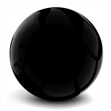 3d black sphere, on white background