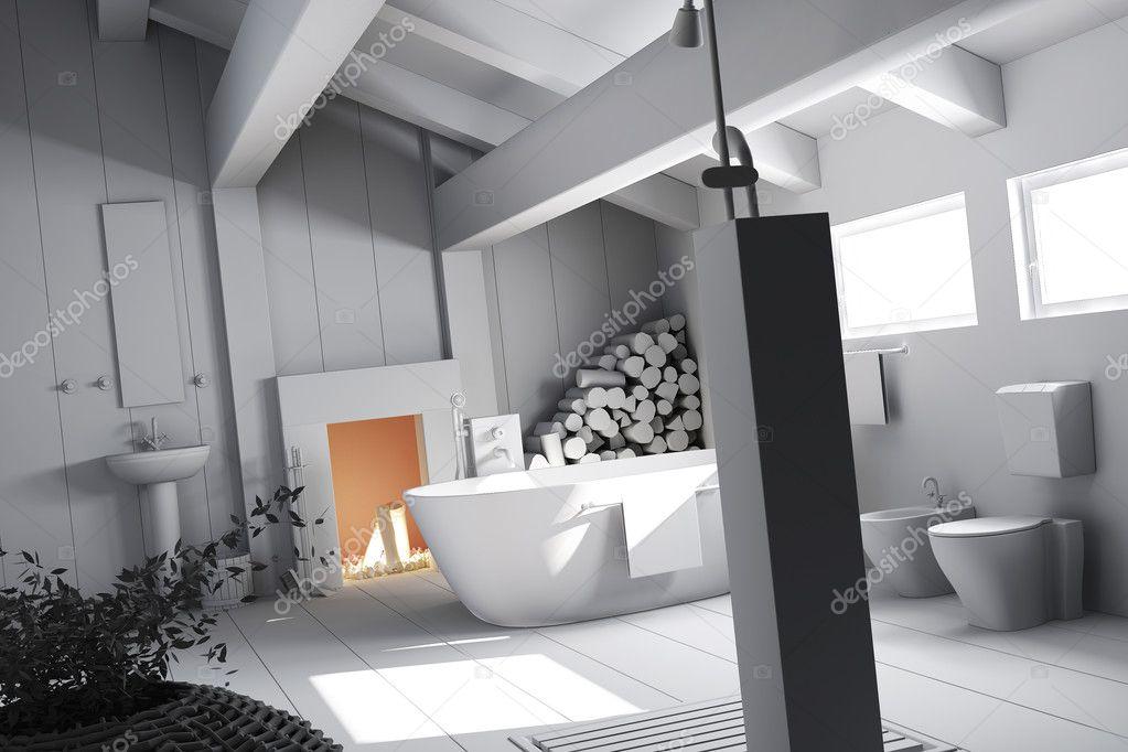 Arcilla 3D render un moderno cuarto de baño diseño de ...