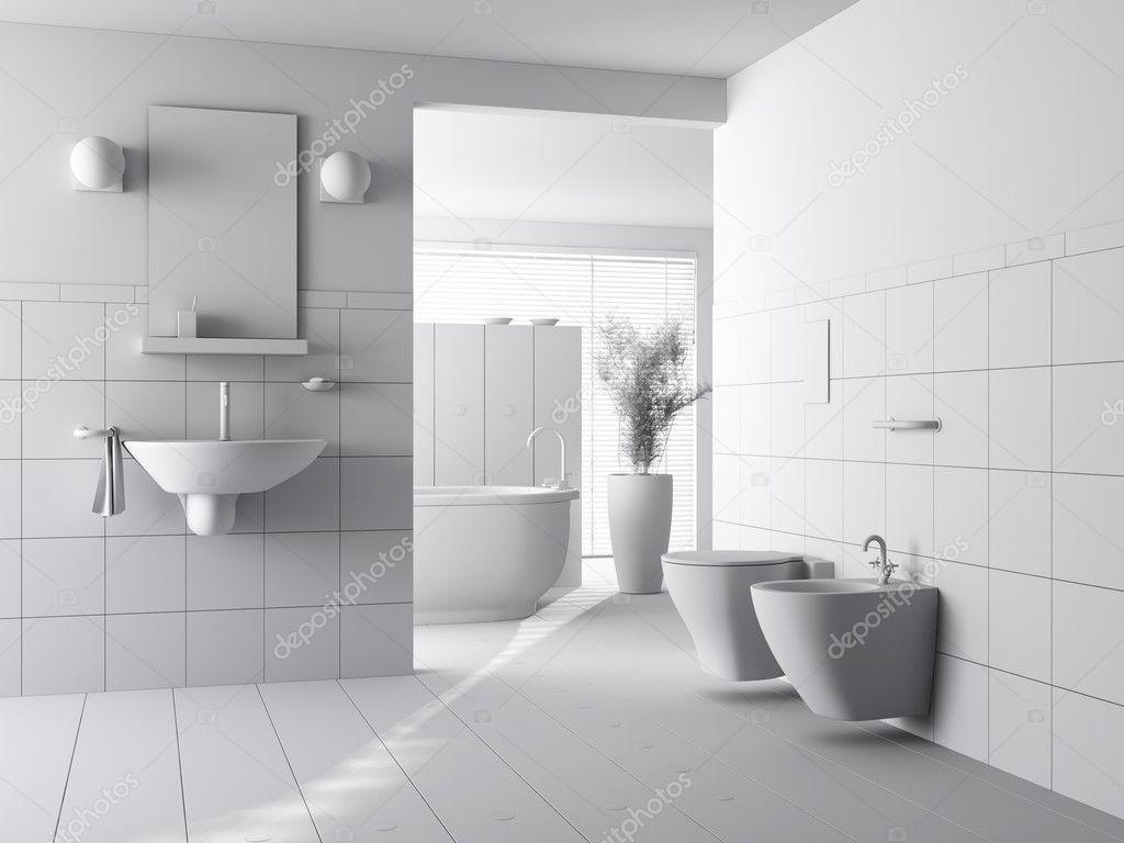 argilla 3D rendering di un bagno moderno interior design — Foto ...