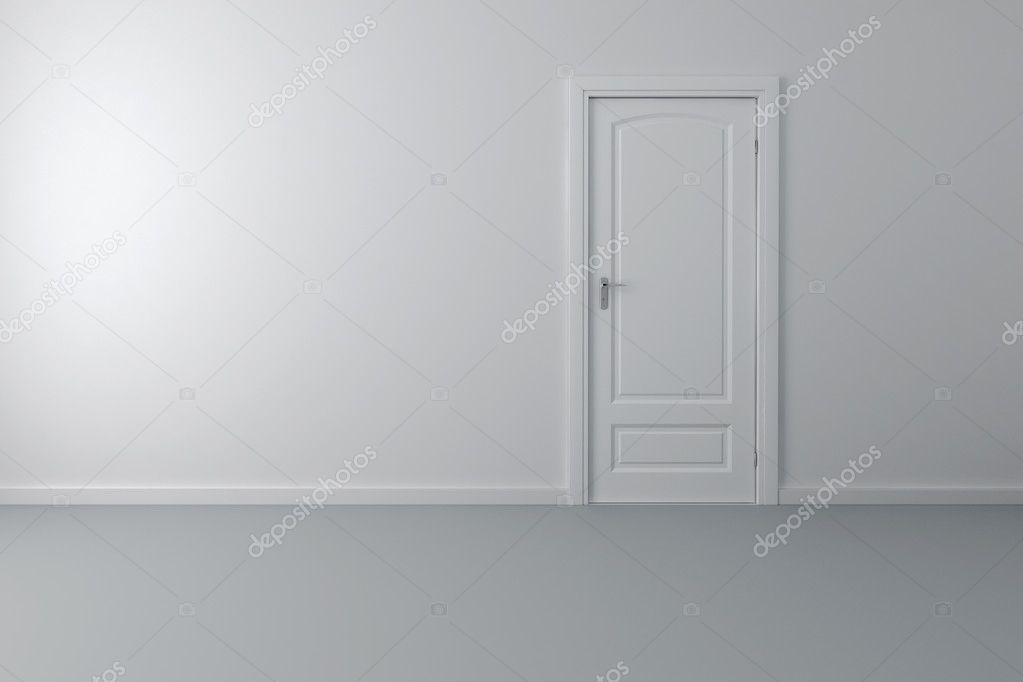 3D interieur en witte deur en wanden — Stockfoto © digitalgenetics ...