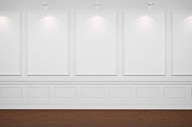 3d blank frames on white walls