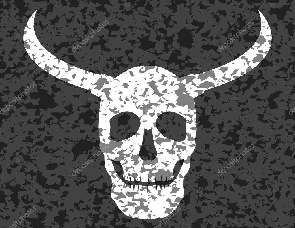 cráneo humano con cuernos Grunge — Archivo Imágenes Vectoriales ...