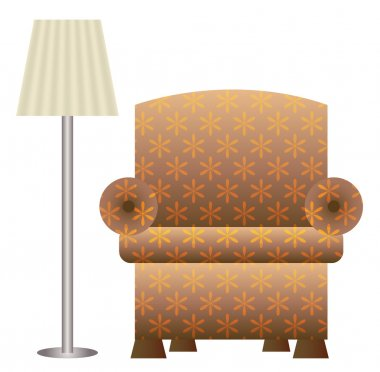 An Upholstered Chair and Floor Lamp