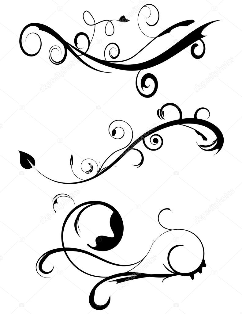 decorative flourishes set 3 stock vector apotterdd 5350444 rh depositphotos com vector flourishes illustrator vector flourishes free