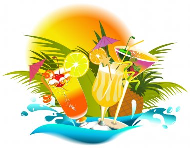 Tropical drinks with fruir decorations stock vector