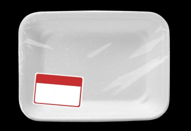 Empty food tray with label