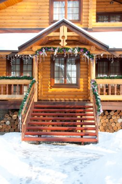 Porch Christmas wooden mansion