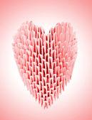 piros origami szív
