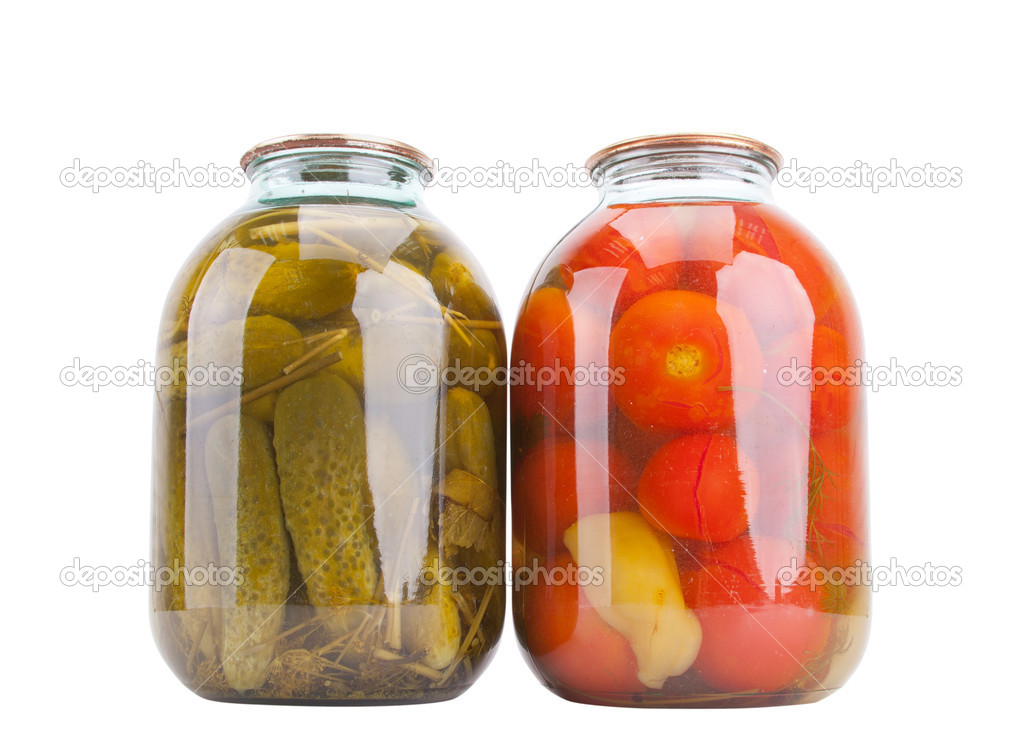 Canned cucumbers and tomatoes