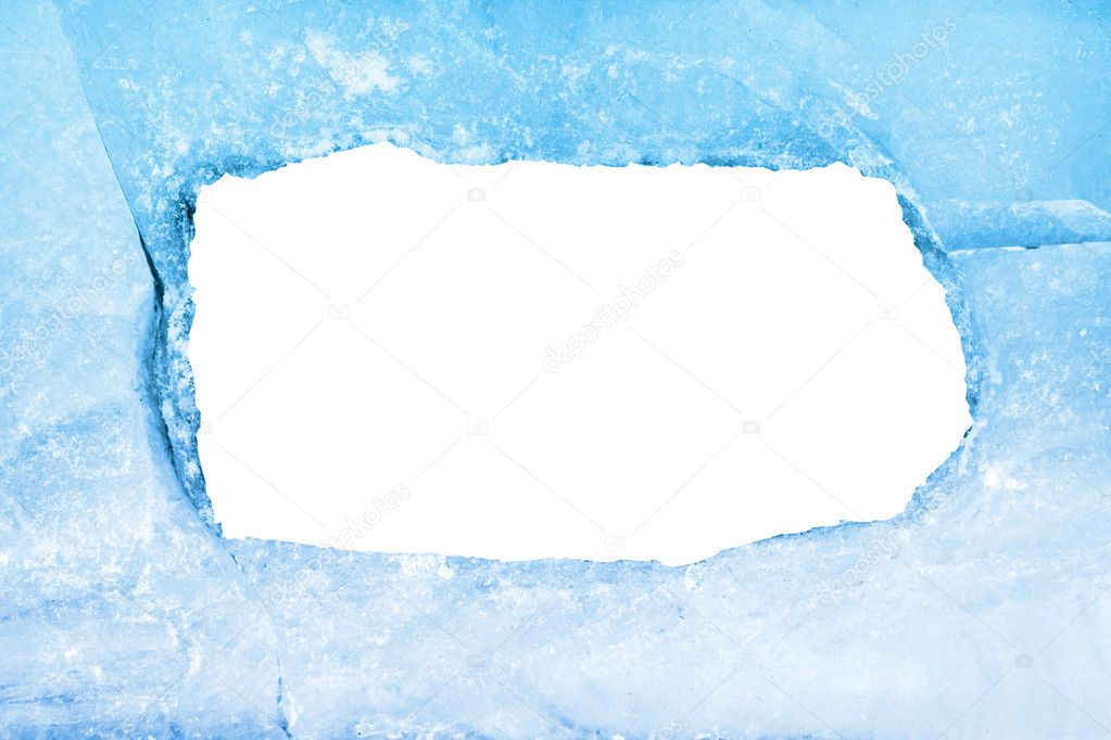 Empty frame of blue ice