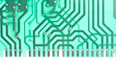 Close up of a green computer circuit stock vector
