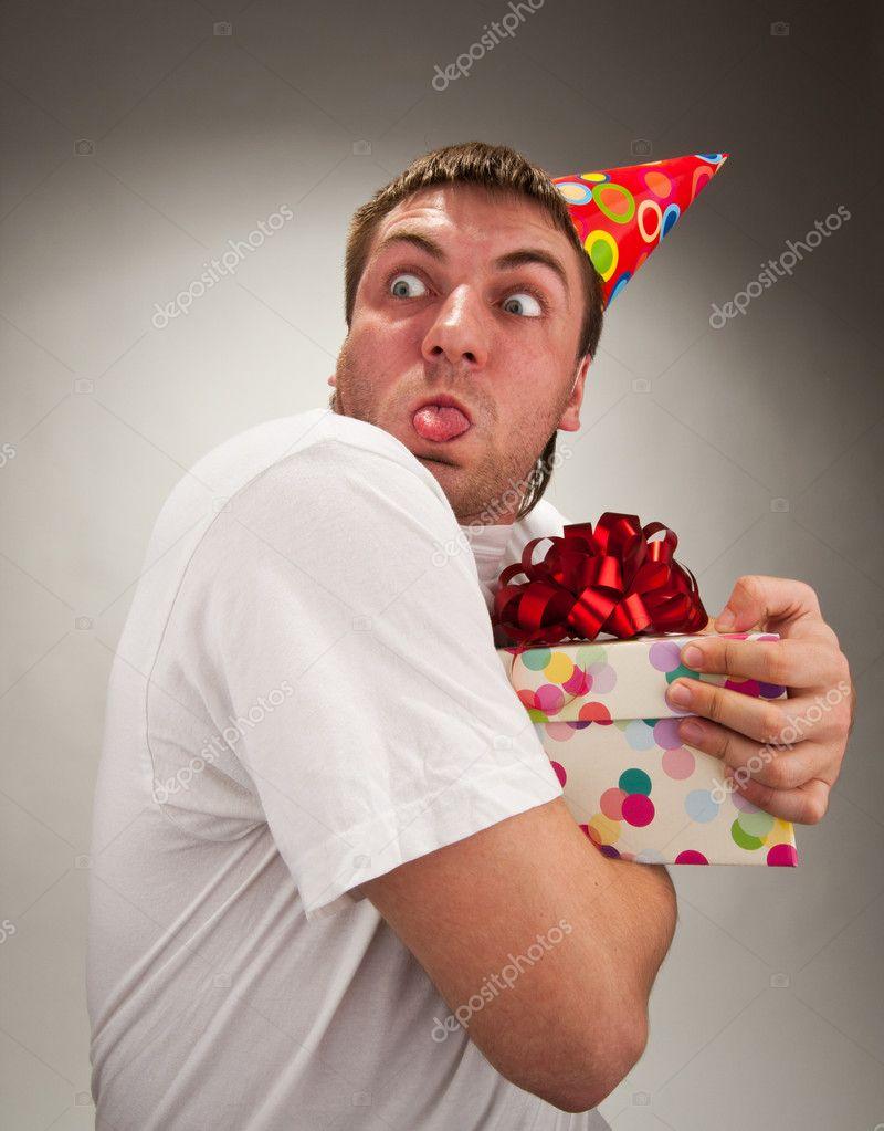 Lustige Geburtstag Mann Gesicht Machen Stockfoto Nomadsoul1 5226950