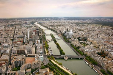 Panoramic view of Paris and river Seine