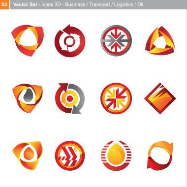 Vector icons: 3d set for business, transport, logistics, oil