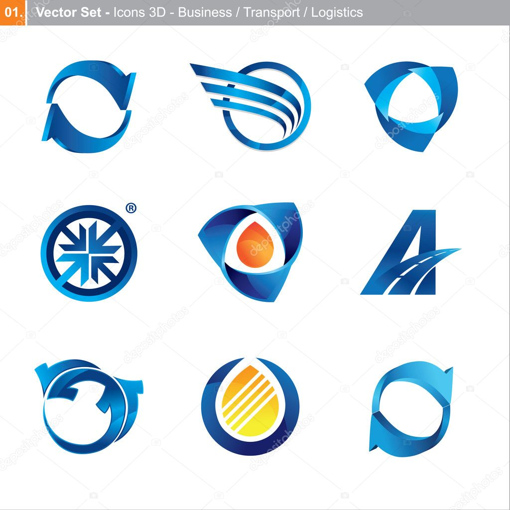 Vector icons: 3d set for business, transport, logistics