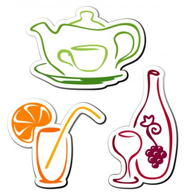 Stylized drink icons