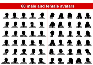 60 male and female avatars
