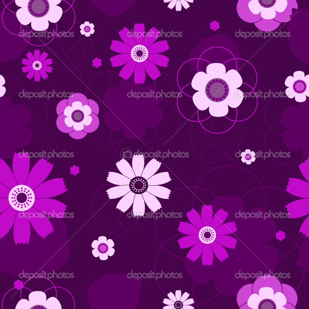 Seamless violet flowers pattern.