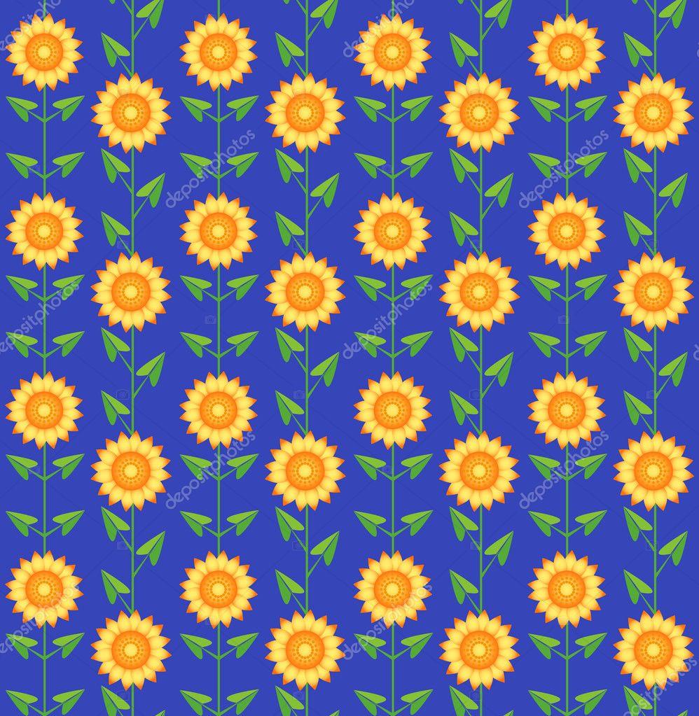 Seamless pattern sunflowers.