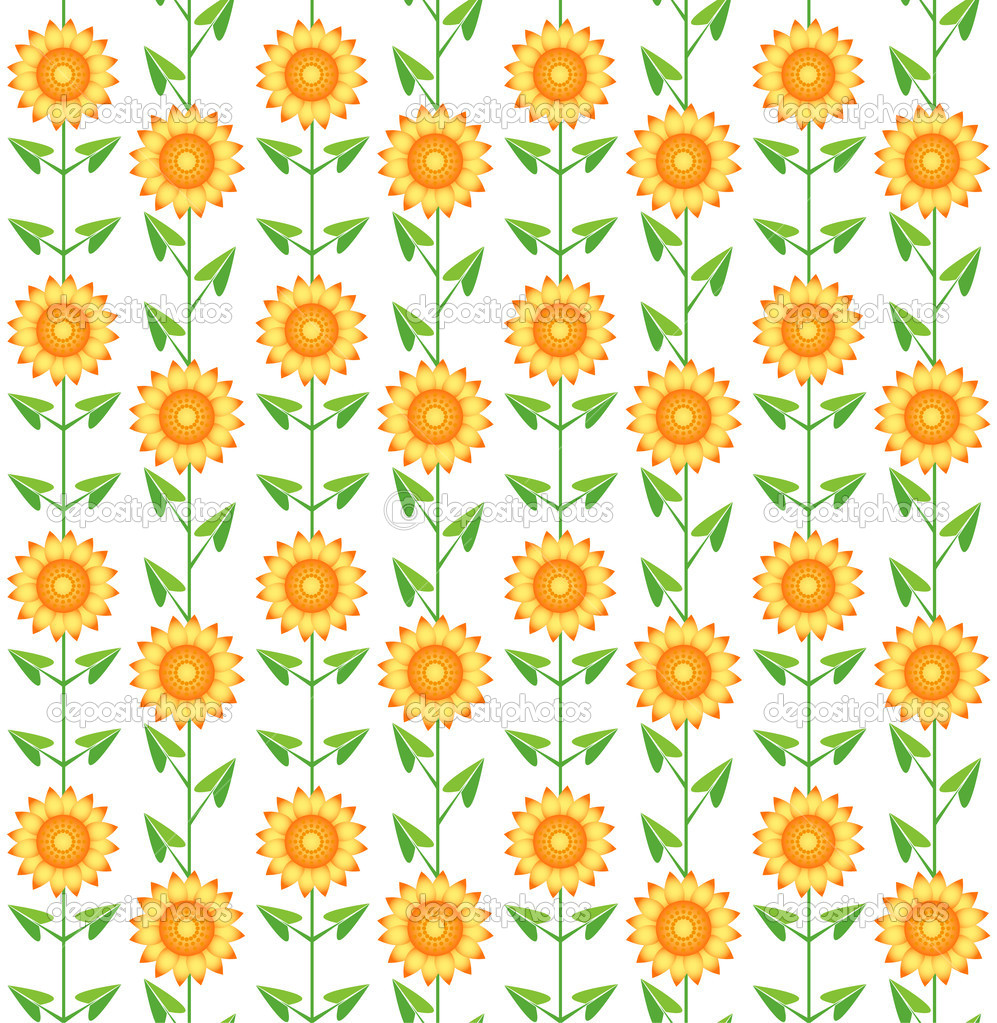 Seamless pattern sunflowers on white.