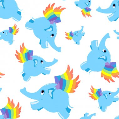 Seamless pattern blue flying elephant.