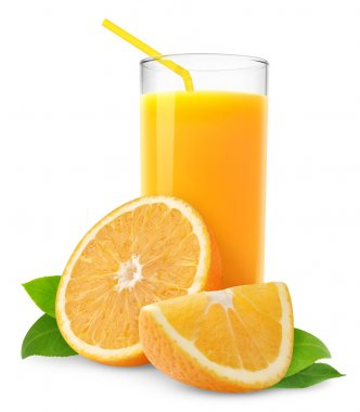 Orange juice and slices of orange isolated on white stock vector