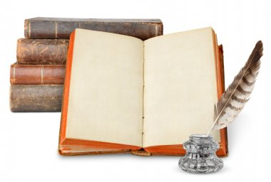 Old books and inkstand