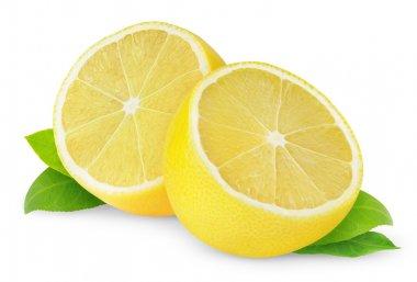 Halves of lemon isolated on white