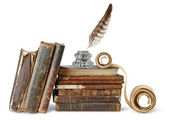 Photo Old books, inkstand and scroll