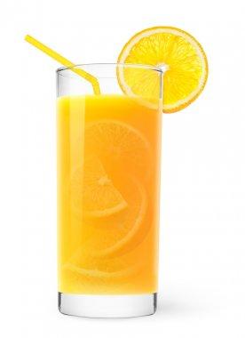 Glass of orange juice with peaces of orange inside stock vector
