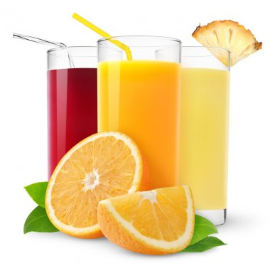 Glasses of orange, pineapple and cherry juice isolated on white stock vector