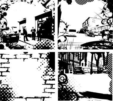 Grunge floral wave background urban city background clip art vector