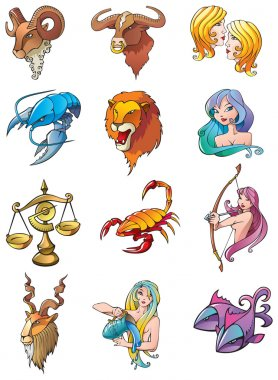 Set of 12 Zodiac signs illustration stock vector