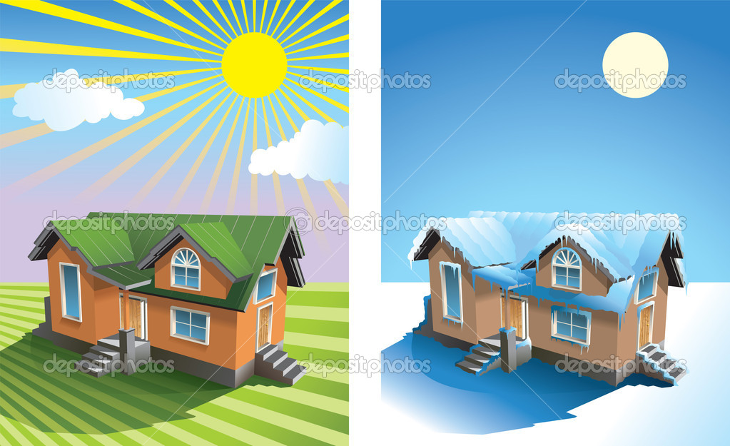 House in summer and winter