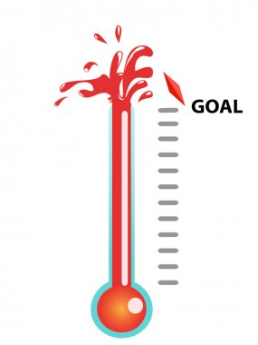 Thermometer graphic showing breaking the goal clip art vector