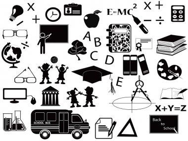 Education black icon set